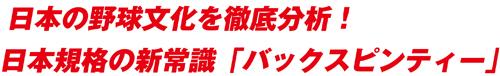 日本の野球文化を徹底分析!日本規格の新常識「バックスピンティー」