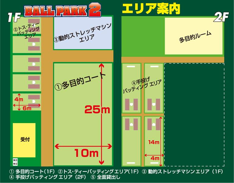ボールパーク2のエリア紹介!一階には多目的コートとトスティーバッティングエリアと動的ストレッチマシンエリアがあります。二階には、手投げバッティングエリアがあります。
